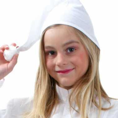 5x stuks voordelige slaapmuts wit voor kids