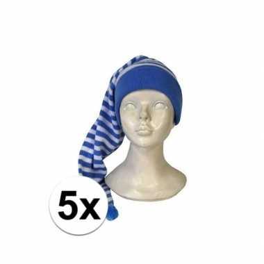 5x stuks voordelige slaapmutsen blauw-witte streepjes